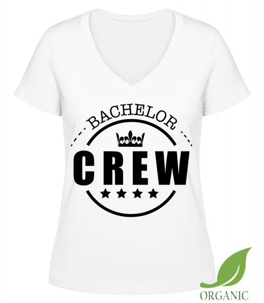 """Bachelor Crew - """"Janet"""" Organic V-Neck T-Shirt - White - Vorn"""