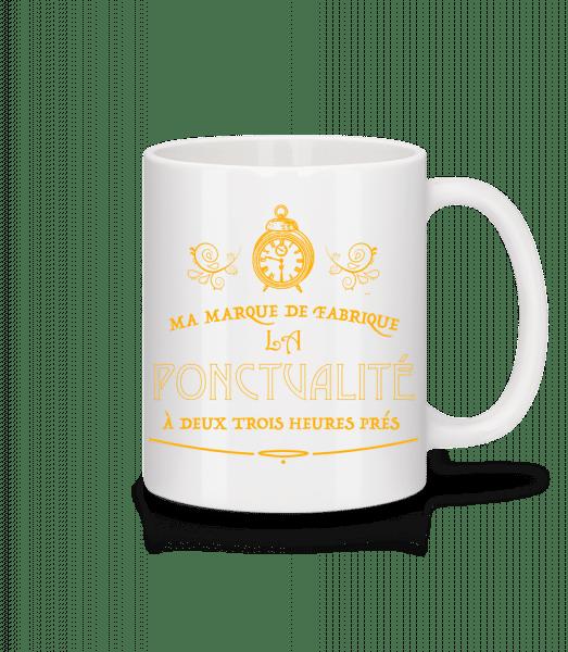 Ma Marque De Fabrique La Ponctualité - Mug en céramique blanc - Blanc - Devant