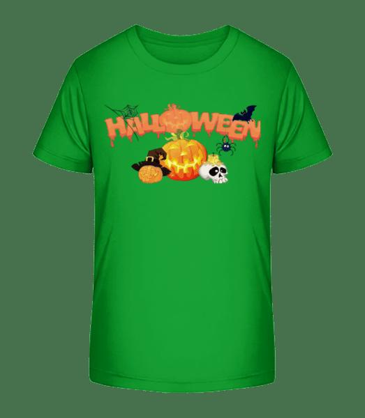 Halloween Pumpkin Rave - Kid's Premium Bio T-Shirt - Green - Vorn