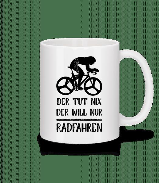 Der Tut Nix Nur Radfahren - Tasse - Weiß - Vorn