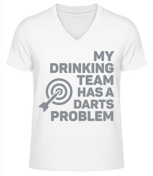 Drinking Darts - Men's V-Neck Organic T-Shirt - White - Vorn