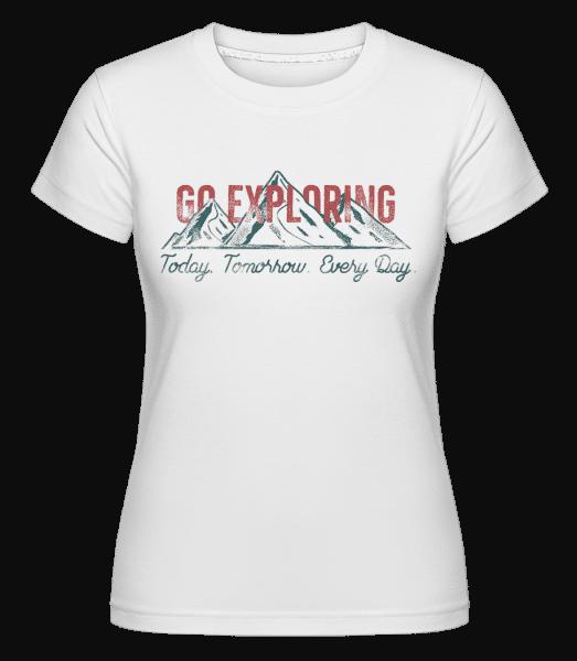 Go Exploring Mountains -  Shirtinator Women's T-Shirt - White - Vorn