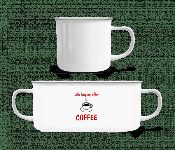 Life Begins After Coffee - Enamel-cup - White - Vorn