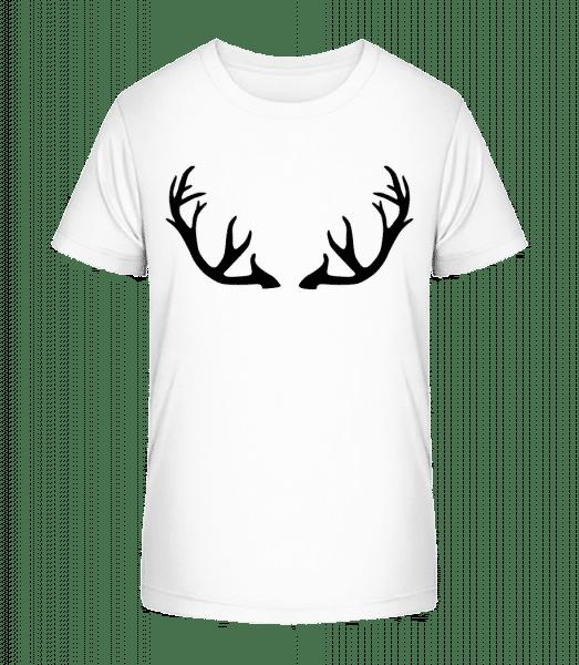 Deer Antlers - Kid's Premium Bio T-Shirt - White - Vorn