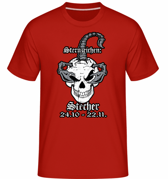 Metal Sternzeichen Stecher - Shirtinator Männer T-Shirt - Rot - Vorn