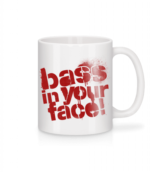 Bass In Your Face - Mug - White - Front