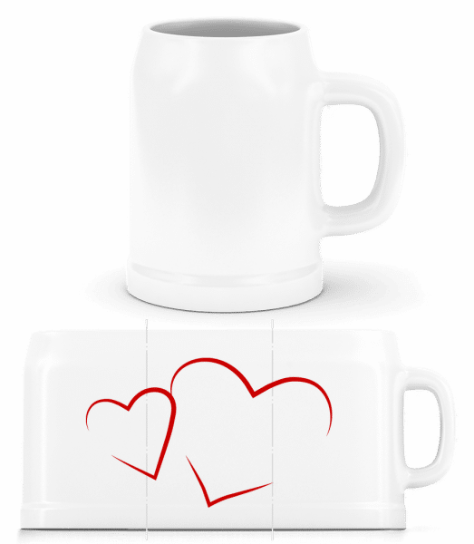 Hearts - Beer Mug - White - Vorn