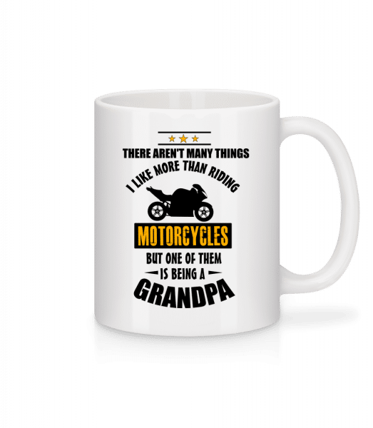 Biking Grandfather - Mug en céramique blanc - Blanc - Devant