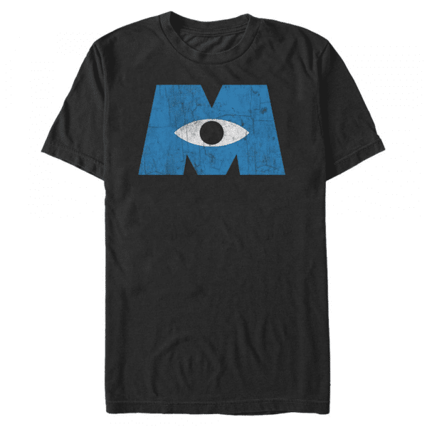 Distressed Logo - Pixar Monster's Inc. - Men's T-Shirt - Black - Front