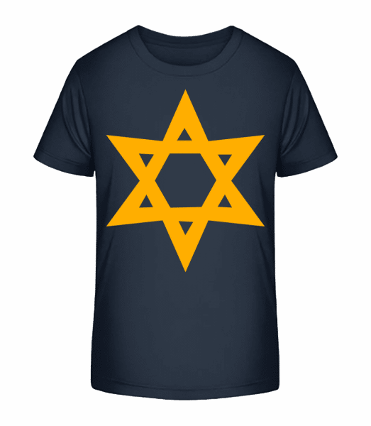 Star Icon Yellow - Kid's Premium Bio T-Shirt - Navy - Front