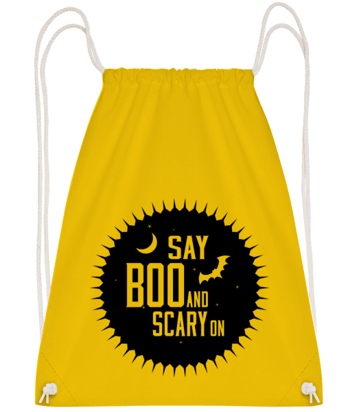 Say Boo And Scary On - Drawstring Backpack - Yellow - Vorn