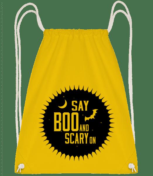 Say Boo And Scary On - Drawstring batoh so šnúrkami - Žltá - Predné
