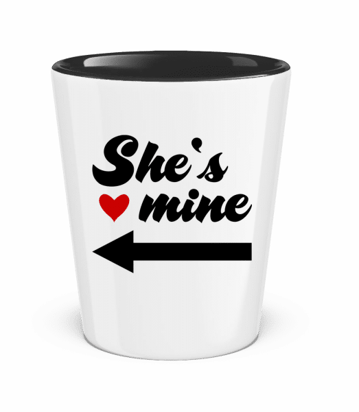 She Is Mine - Two-Toned Shot Glass - White - Front