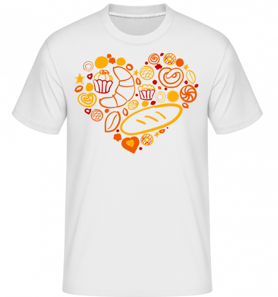 Snídaně Heart -  Shirtinator tričko pro pány - Bílá - Napřed