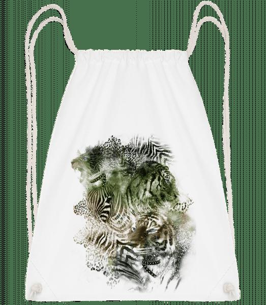 Big Cats Pack - Drawstring Backpack - White - Vorn