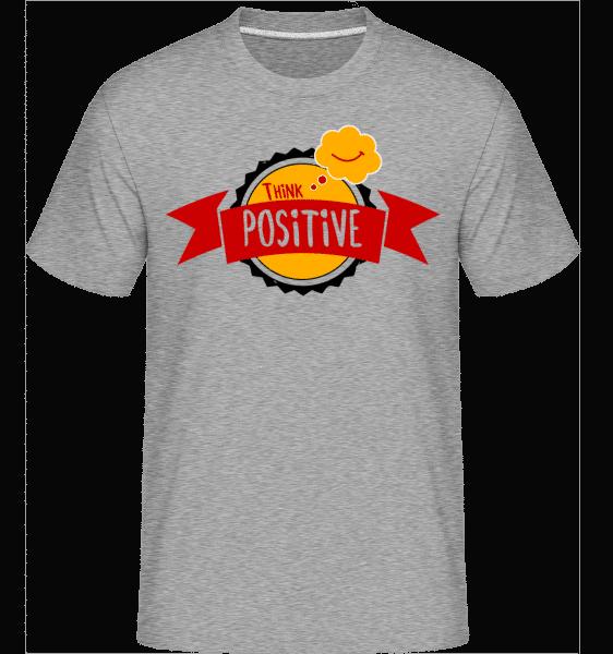 Think Positive - Shirtinator Männer T-Shirt - Grau meliert - Vorn
