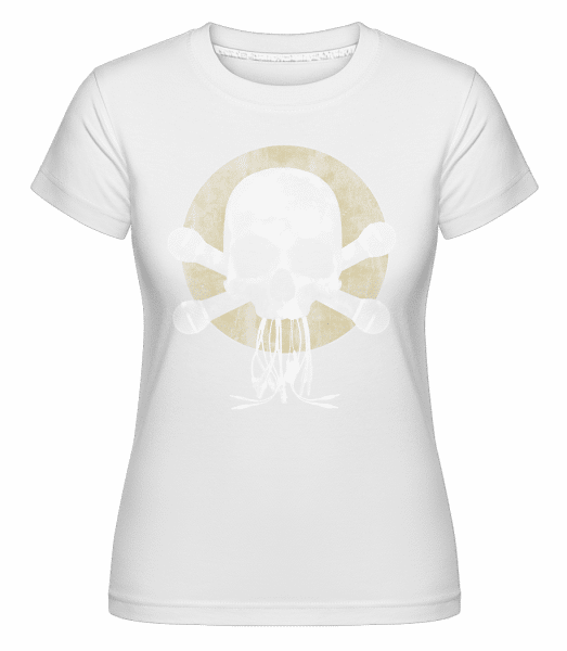 Skull With Microphones -  Shirtinator Women's T-Shirt - White - Vorn