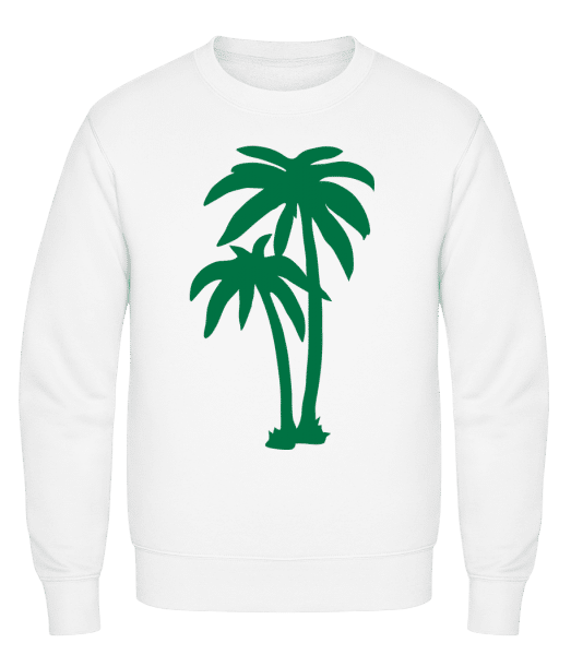 Two Palm Trees - Classic Set-In Sweatshirt - White - Vorn