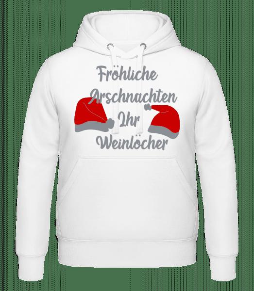 Fröhliche Arschnachten - Kapuzenhoodie - Weiß - Vorn
