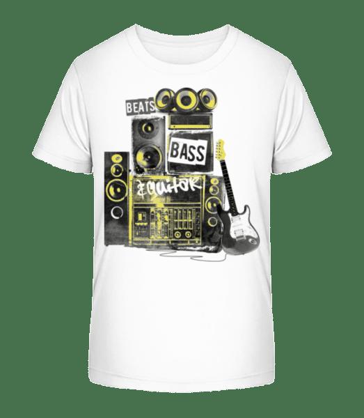 Beat Bass And Guitar - Kinder Premium Bio T-Shirt - Weiß - Vorn