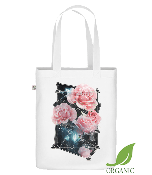 """Geometry Roses - Organic """"Earth Positive"""" tote bag - White - Vorn"""