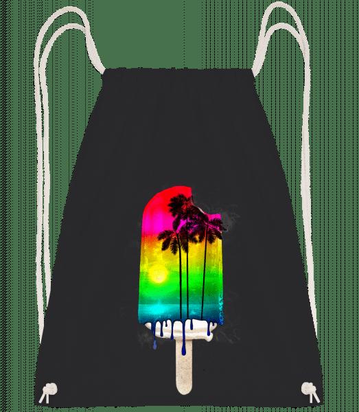 Palm Trees Ice Cream - Drawstring Backpack - Black - Vorn