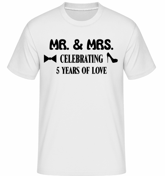 Mr. & Mrs. 5 Years Of Love -  Shirtinator Men's T-Shirt - White - Vorn