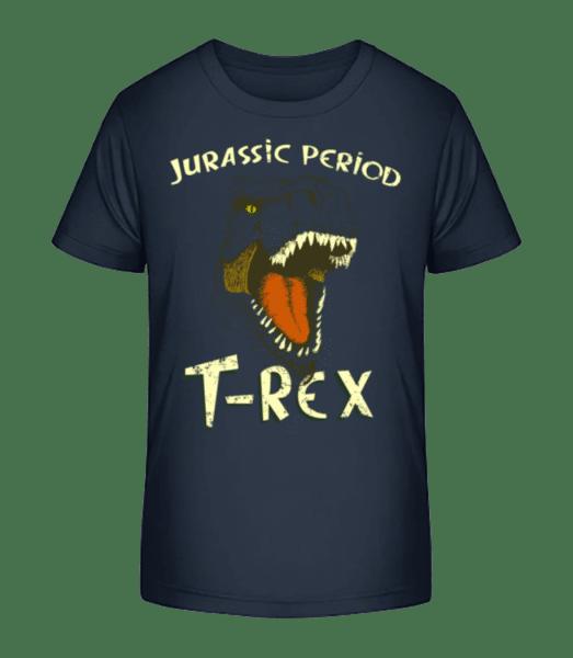 T-Rex Logo - Detské Premium Bio tričko - Namořnická modrá - Napřed