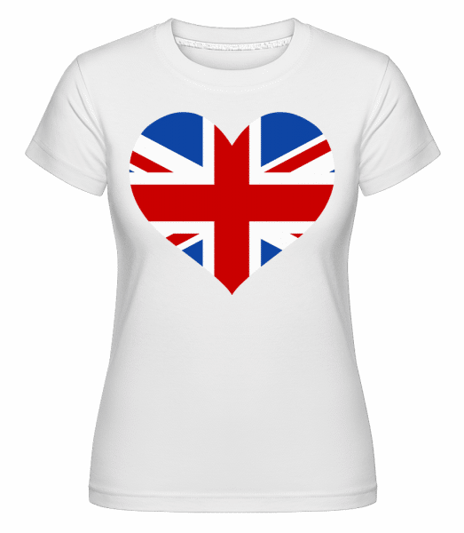 Heartshaped British Flag -  Shirtinator Women's T-Shirt - White - Vorn