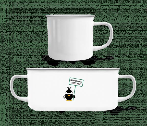 Fresse Halten Kaffee Her - Emaille-Tasse - Weiß - Vorn
