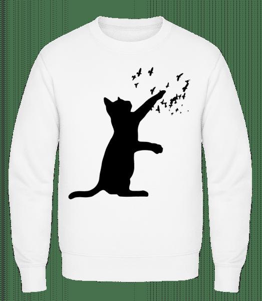 Cat And Birds - Classic Set-In Sweatshirt - White - Vorn