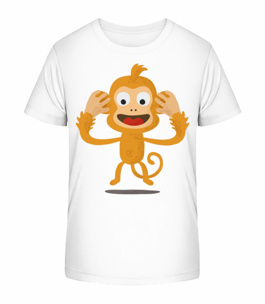 Deaf Monkey - Kid's Premium Bio T-Shirt - White - Front