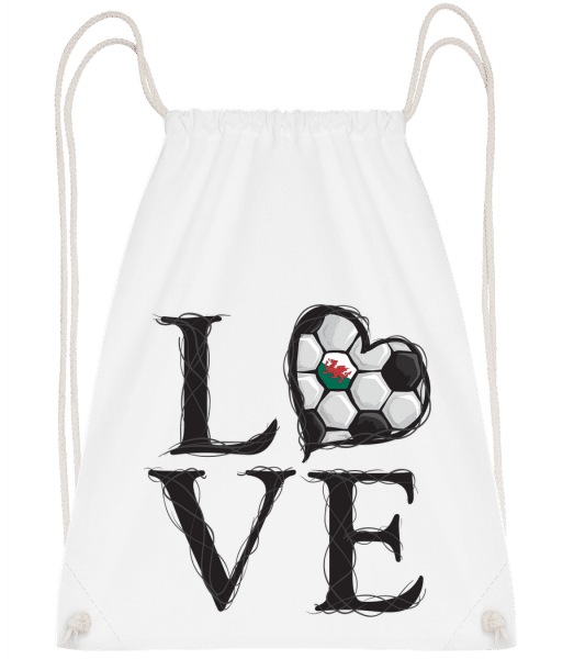 Love Football Wales - Drawstring Backpack - White - Vorn