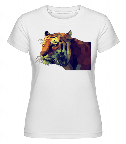 Polygon Tiger - Shirtinator Frauen T-Shirt - Weiß - Vorn
