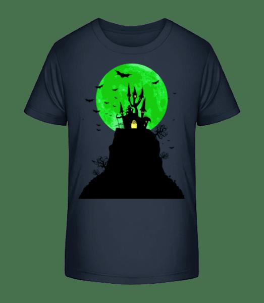 ghost Castle - Detské Premium Bio tričko - Namořnická modrá - Napřed