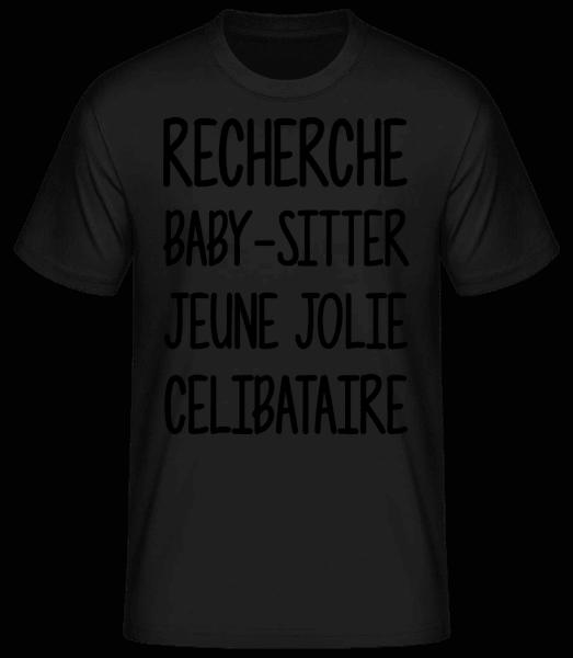 Recherche Baby-Sitter - T-shirt standard Homme - Noir - Devant