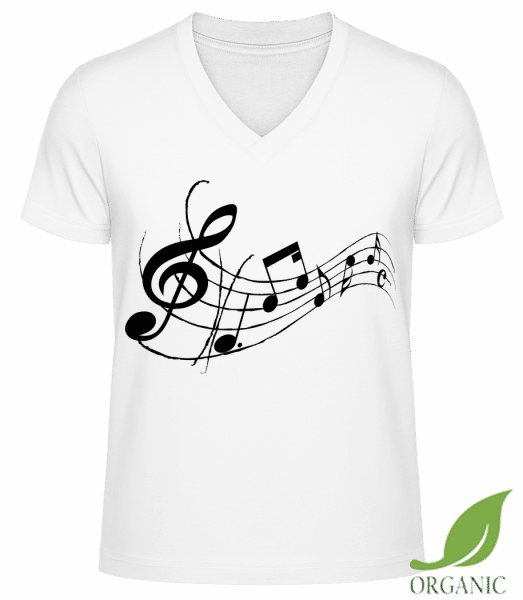 "Music Notes Black - ""James"" Organic V-Neck T-Shirt - White - Vorn"