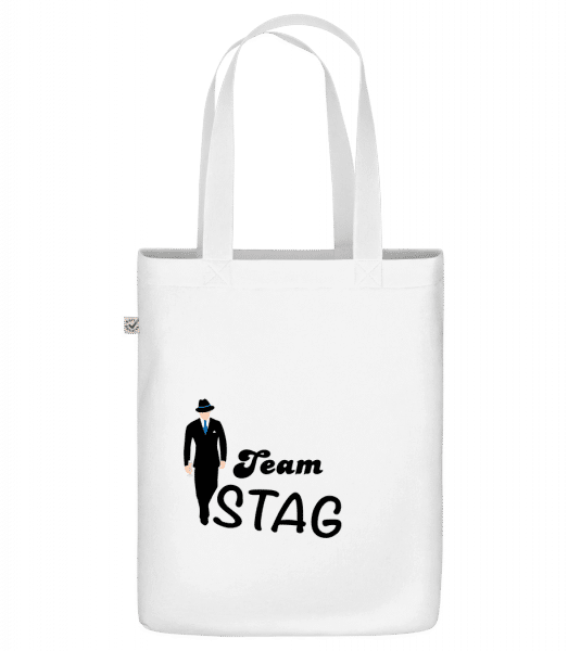 "Team Stag - Organic ""Earth Positive"" tote bag - White - Front"