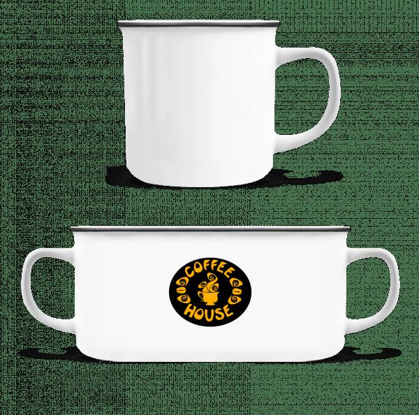 Coffee House Logo - Smaltovaný hrnček - Biela - Predné