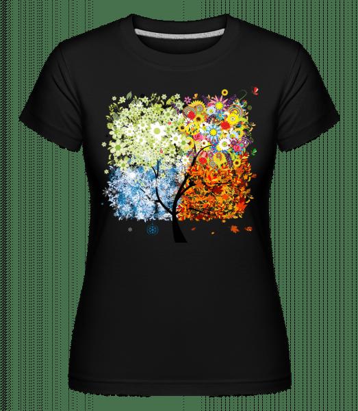 Four Seasons Tree -  Shirtinator Women's T-Shirt - Black - Vorn