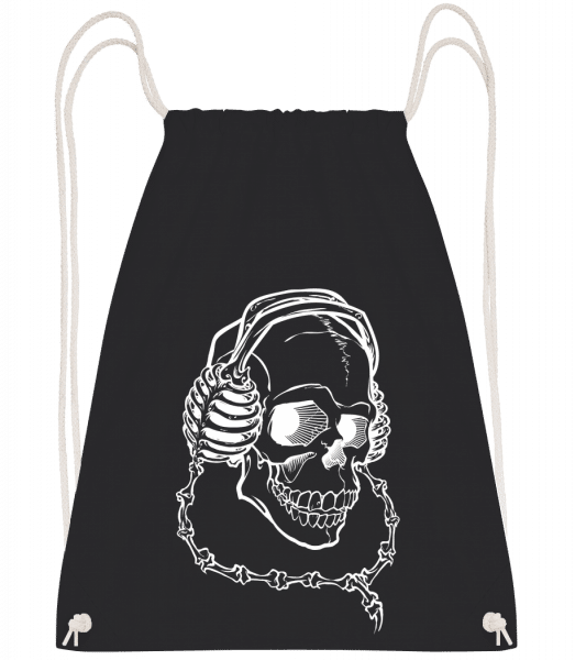 Skull With Headphones - Drawstring Backpack - Black - Vorn