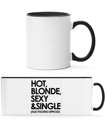 Hot, Blonde, Sexy & Single - Two-toned Mug - White - Vorn