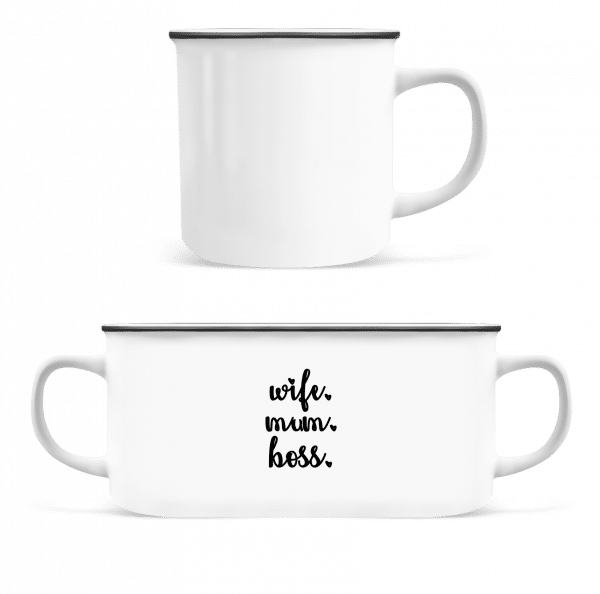 Wife Mum Boss - Enamel-cup - White - Vorn