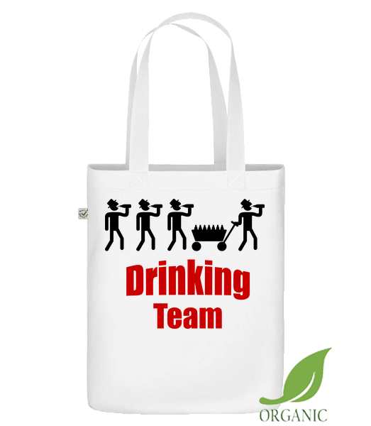 """Drinking Team - Organic """"Earth Positive"""" tote bag - White - Vorn"""