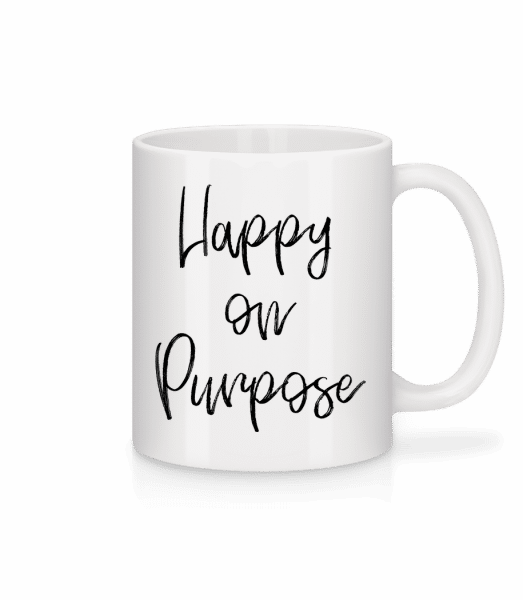 Šťastný On Purpose - Keramický hrnček - Biela - Predné