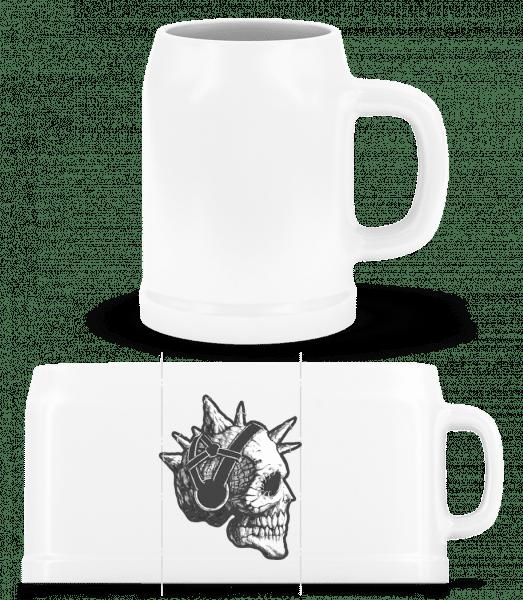 Punk Totenkopf - Bierkrug - Weiß - Vorn