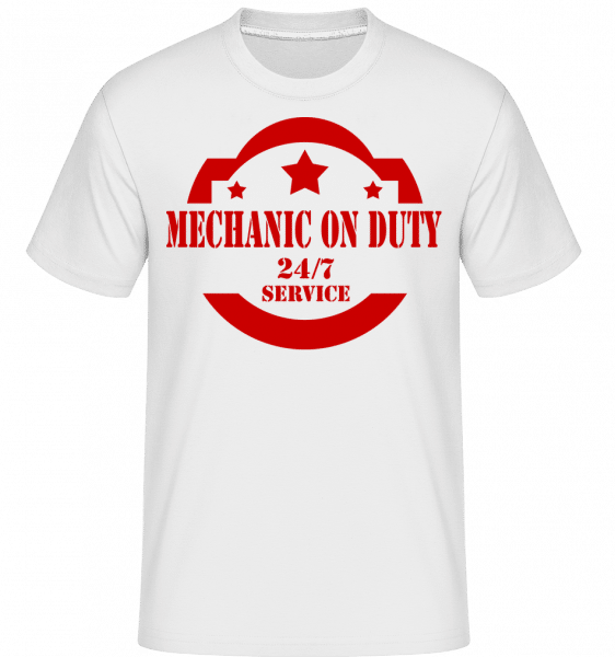 Mechanic On Duty Sign -  Shirtinator Men's T-Shirt - White - Front