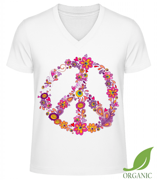 "Peace Sign Flowers - ""James"" Organic V-Neck T-Shirt - White - Vorn"