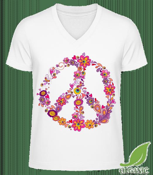 """Peace Sign Flowers - """"James"""" Organické tričko s V-výstřihem - Bílá - Napřed"""