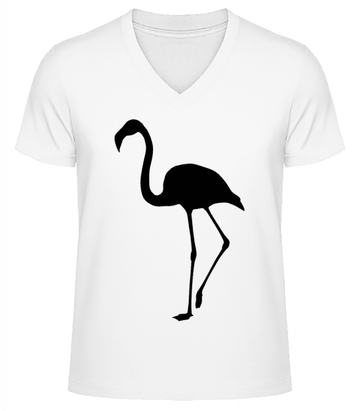 Flamingo Shadow - Men's V-Neck Organic T-Shirt - White - Front